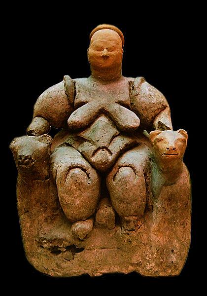 Diosa madre dando a luz
