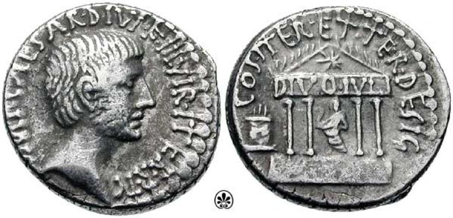 Moneda acuñada por Augusto que muestra el templo que se dedicó a César (su padre adoptivo) como divino tras su muerte
