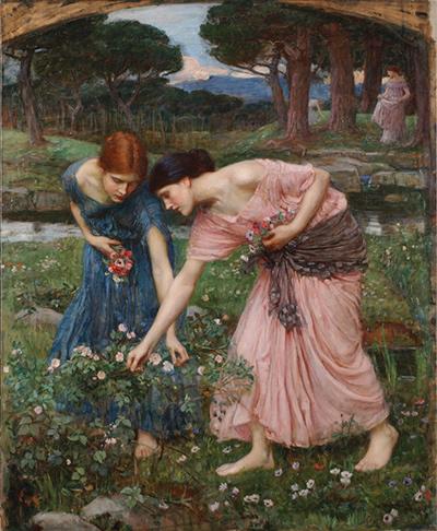 Muchachas recogiendo flores en un prado (J. W. Waterhouse)